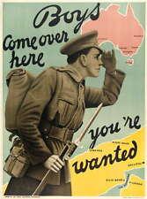 WW1 World War 1 Australia recruitment poster Gallipoli 100 years 1914-2014