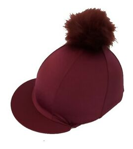 GGGear-Cross-Country-Colours-Hat-Silk-Burgundy-with-Faux-Fur-Pom-pom