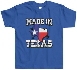 Made In Texas Kids Toddler T-Shirt Tee USA Texan Pride Lone Star State Flag