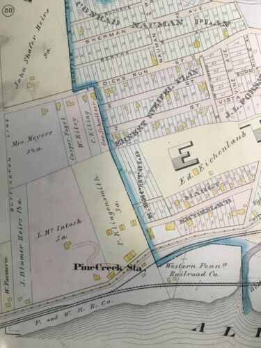 1906 NORTH PITTSBURGH ETNA BORO /& SHALER TOWNSHIP PENNSYLVANIA ATLAS MAP