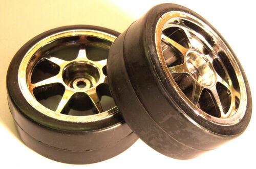 Dérive Échelle 1//10 sur route roues et pneus voiture chrome 2