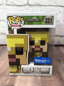 Funko POP! Minecraft Steve In Gold Armor #321 Walmart Exclusive NEW ...
