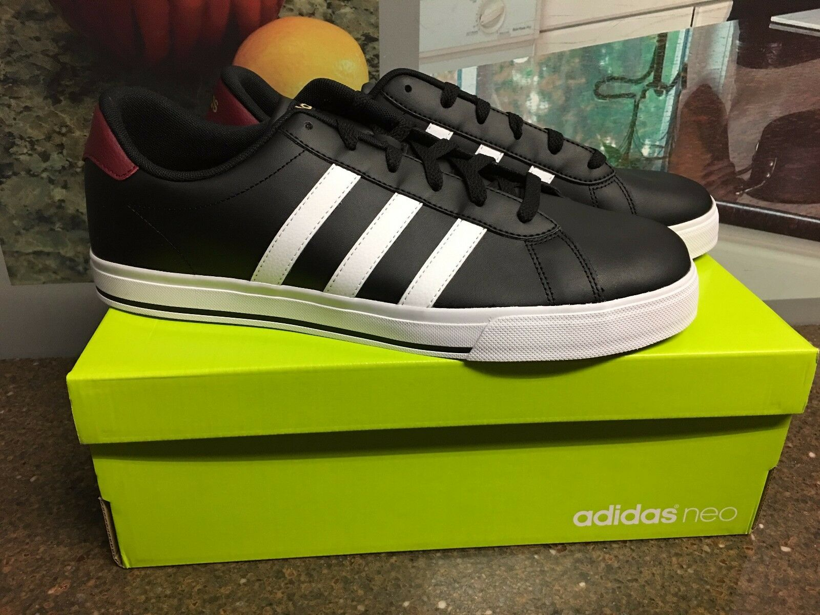 adidas NEO Daily Men's Shoes Sneakers Black / White Soft Leather NIB Comfortable