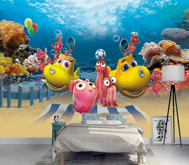 Happy Inward Cartoon 3D Full Wall Mural Photo Wallpaper Printing Home Kids Decor