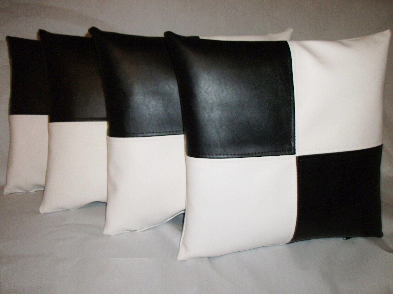 4 Noir & Blanc Carreaux Carreaux Blanc en cuir synthétique Coussins 16