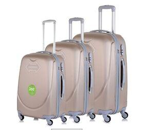 Rose-Gold-4-Wheel-Luggage-Suitcase-Trolley-Holiday-Travel-Bag-Case-Hard-Shell