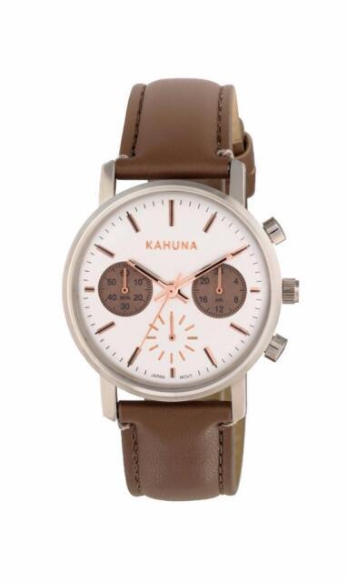 KAHUNA WOMEN'S WHITE DIAL BROWN STRAP CHRONOGRAPH WATCH - KLS0318L - RRP:£60