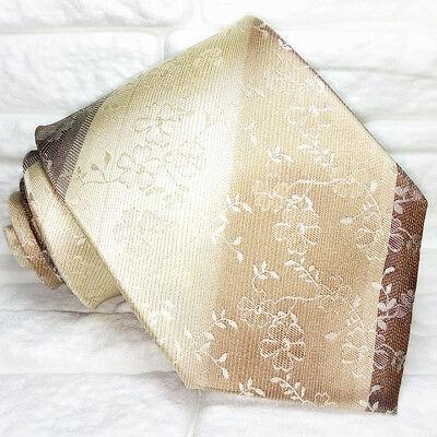 Caritatevole Cravatta Uomo Marrone Beige A Fiori 100% Seta Made In Italy Handmade