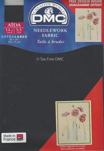 Extra Large DMC Black 14 Count  Aida Fabric 20x30 Inches 50x75cm