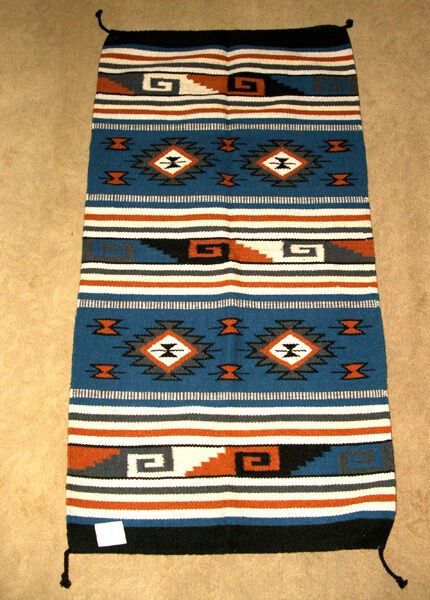 "Hand Woven Wool Throw Rug Southwestern Western 32""x 64"" Tapestry #432"