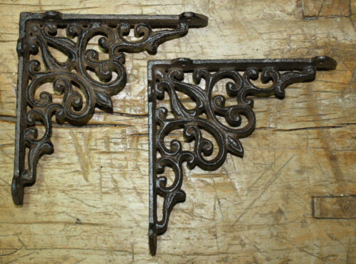 Garden Braces RUSTIC Shelf Bracket 2 Cast Iron Antique Style HEART Brackets