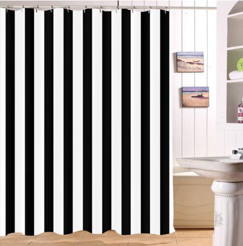 Creative Black /& White Stripes Shower Curtain Set Bathroom Polyester Fabric Hook
