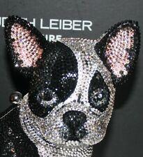 $5695 New Judith Leiber Couture French Bulldog Minaudiere Handbag