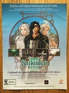 Suikoden-III-3-Playstation-2-PS2-2002-Vintage-Poster-Ad-Art-Print-RPG-Official