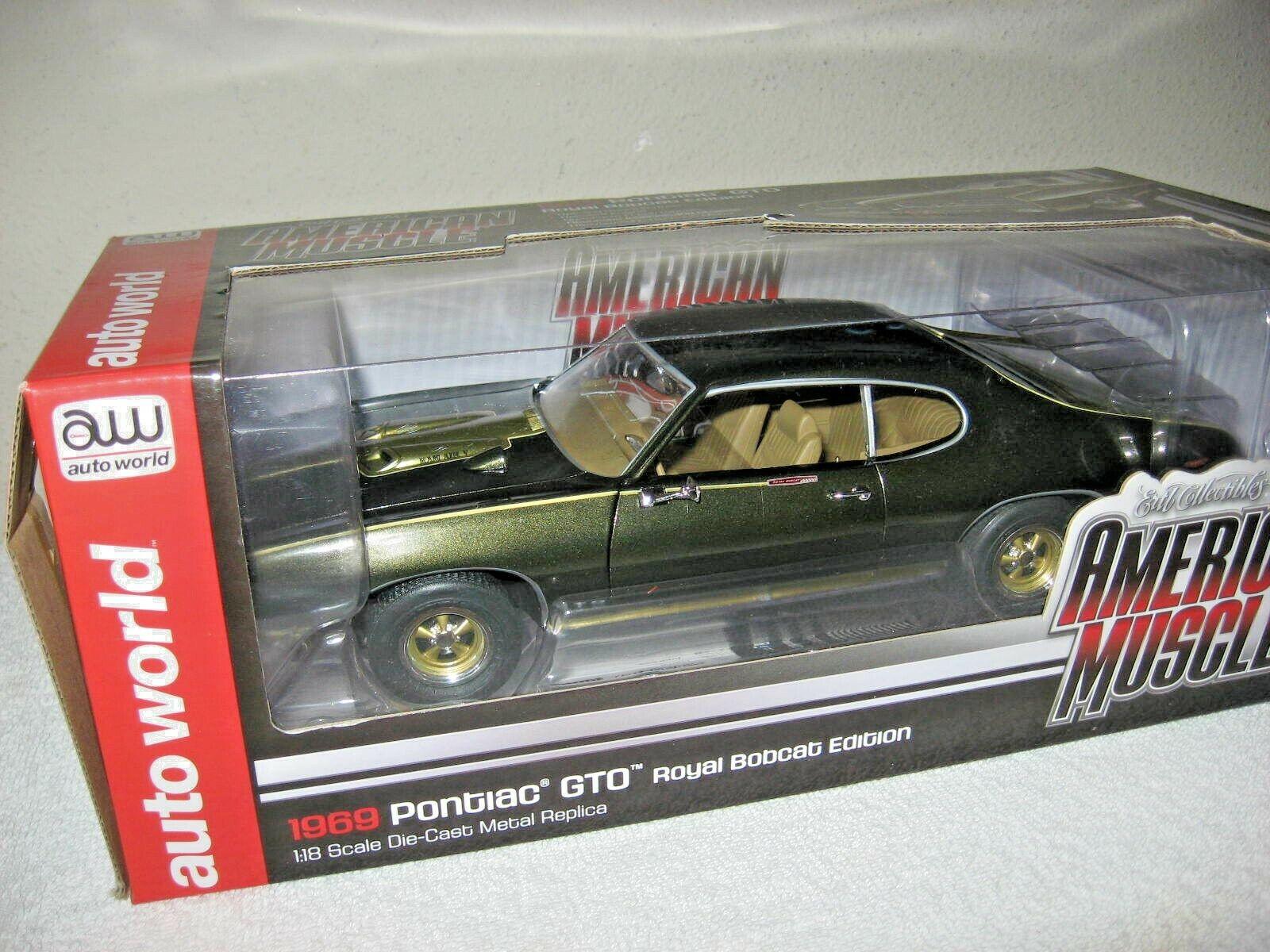 1969 Royal Bobcat Pontiac Gto Auto World ERTL 1 18 escala de apertura capó y puertas