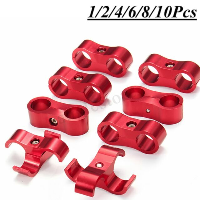 4pcs AN10 19MM Braided Hose Separator Clamp Fitting Adapter Bracket Red