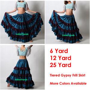 Teal-Purple-Satin-6-12-25-Yard-Tiered-Gypsy-Frill-Skirt-Belly-Dance-Flamenco