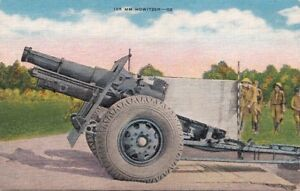 Postcard Military 155 MM Howitzer Gun + Soldiers
