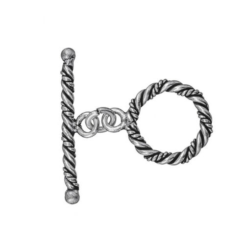 Twisted Rope Metallic Silver Antique Toggle Clasp 30mm Pack of 1 B29//3