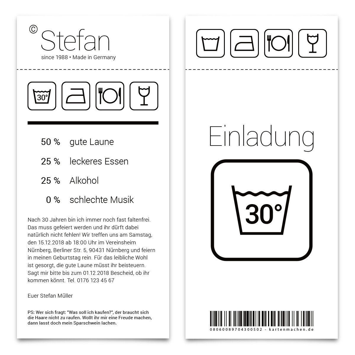 Einladung runder Geburtstag 30 Jahre Grad Einladungskarten Karten Waschanleitung | Ausgezeichnetes Handwerk  | Kaufen