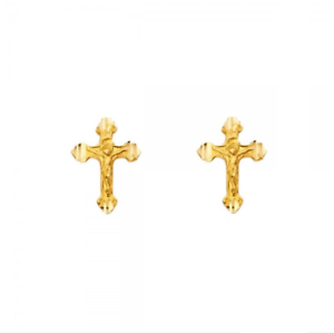 Image Is Loading 14k Solid Yellow Gold Crucifix Cross Stud Earrings