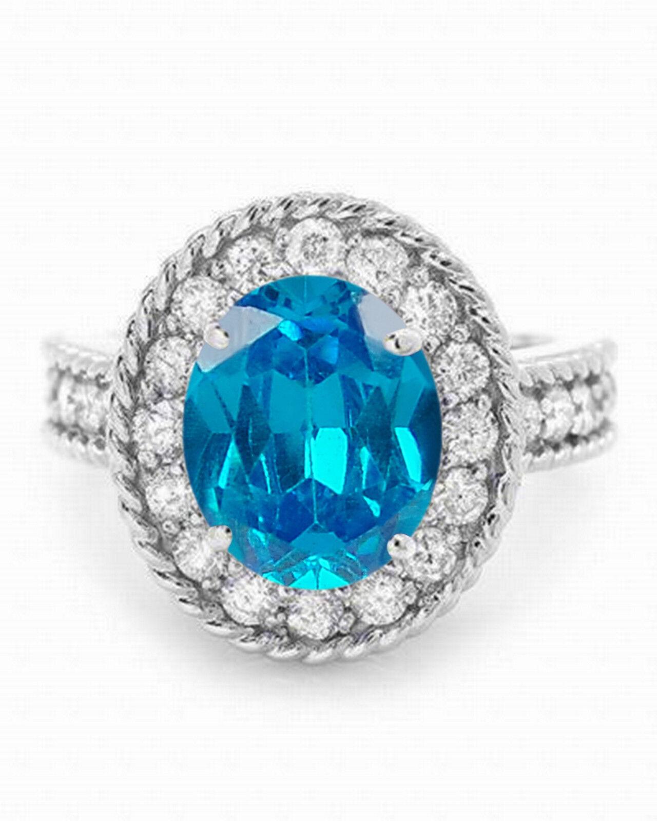2.10 Carat Natural bluee Topaz EGL Certified Diamond Ring In 14KT White gold