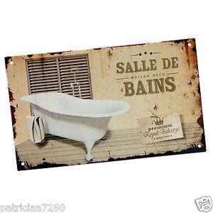 plaque porte salle de bains en metal baignoire retro vintage original class deco ebay