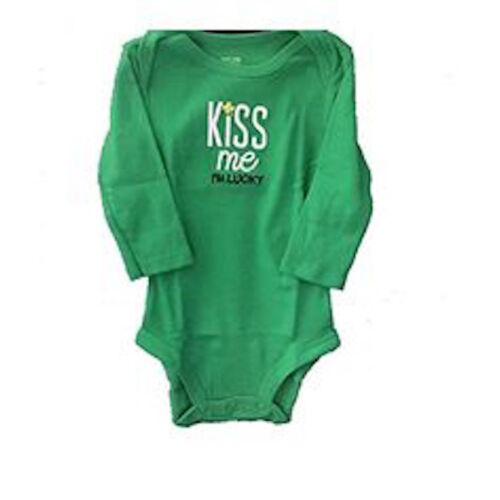 Carters Green Kiss Me Im Lucky One Piece Bodysuit Baby Boy Girl Size 3 6 Months