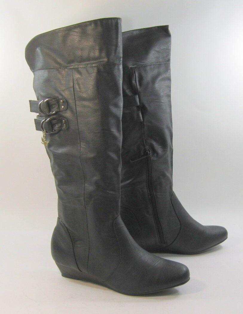 Black 1.5  Low Wedge Heel Round Toe Comfortable Knee Boot Sexy Size 9.5