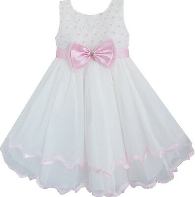 Flower Girl Dress White Pearl Rose Bow Tie Wedding Pageant Layers Age 2-10 Party