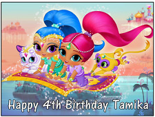 "Shimmer and Shine Personalised Cake Topper Edible Wafer Paper A4 7.5"" By 10"""