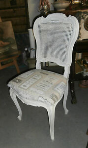 CHAISE ANCIENNE STYLE LOUIS XV RELOOKEE BLANC DOS CANNE ASSISE ...