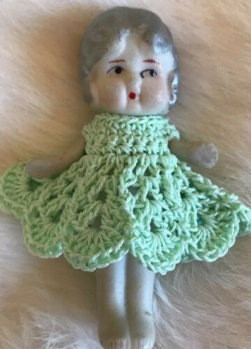 "Crochet Dress for 3 1//2/"" Frozen Charlotte Flapper Bisque Penny Doll Mint"
