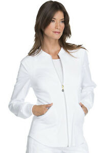 8d560e6c3aa Cherokee Luxe Sport Scrubs Zip Front Warm-up Jacket in White Style ...