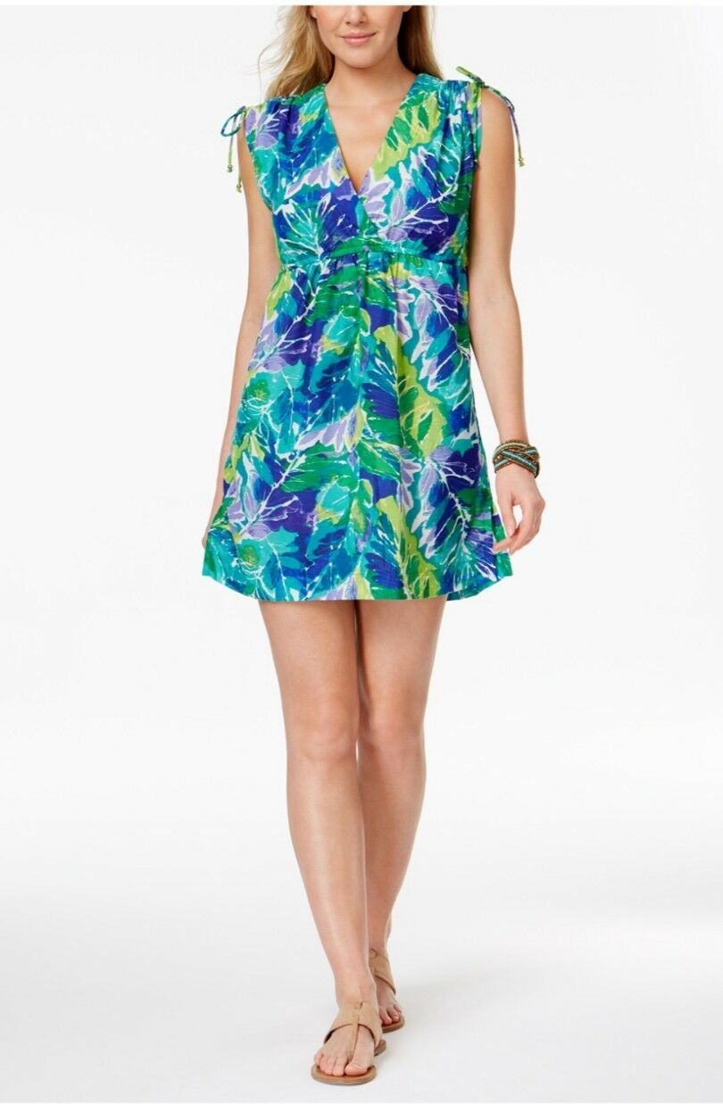 36501c26f3 Ralph green bluee tropical print cover up dress L Lauren swimsuit ...