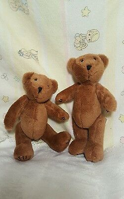 """PAIR 9"""" plush TEDDY BEAR country craft jointed small home decor"""
