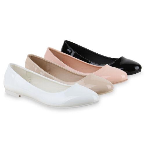 Klassische Damen Ballerinas Lack Slipper Flats 814691 Schuhe