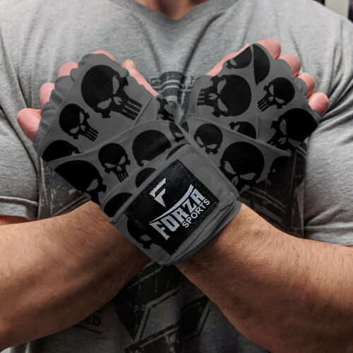 """Forza Sports 180/"""" Mexican Style Boxing and MMA Handwraps Skulls Gray"""