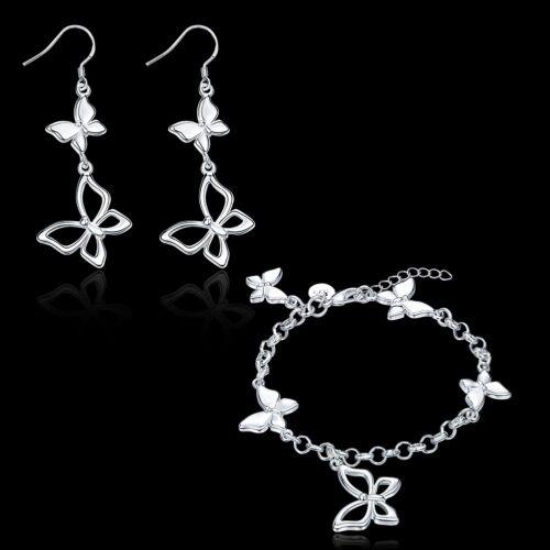 Fashion 925 Sterling Argent Massif Papillon Bracelet Boucles d/'oreilles bijoux Sets S903