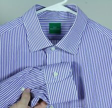 SID MASHBURN WHITE BLUE BENGAL STRIPE SEMI SPREAD COLLAR DRESS SHIRT 16.5 33