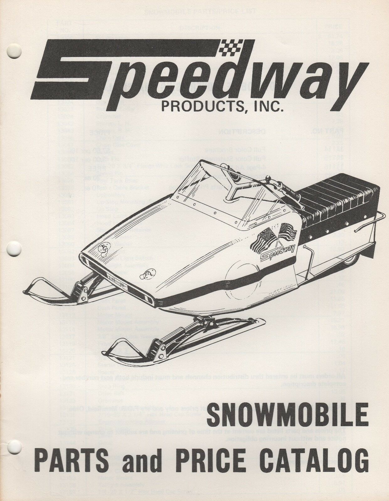 1972  SPEEDWAY SNOWMOBILE PARTS MANUAL P N 11230 (312)  at the lowest price