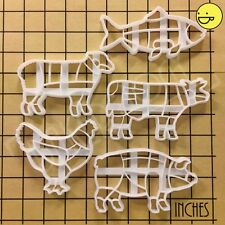 SET of 5 Butcher Meat Cut Diagram cookie cutters (pig, lamb, cow, fish, chicken)