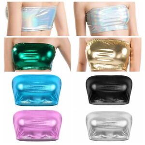 Shiny-Metallic-Strapless-Tank-Top-Women-Sexy-Bustier-Tube-Crop-Top-Bandeau-Vest