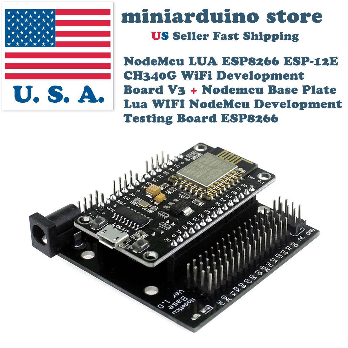 NodeMcu Lua V3 V2 ESP8266 CH340G ESP-12E WIFI Internet Development Board /& Base