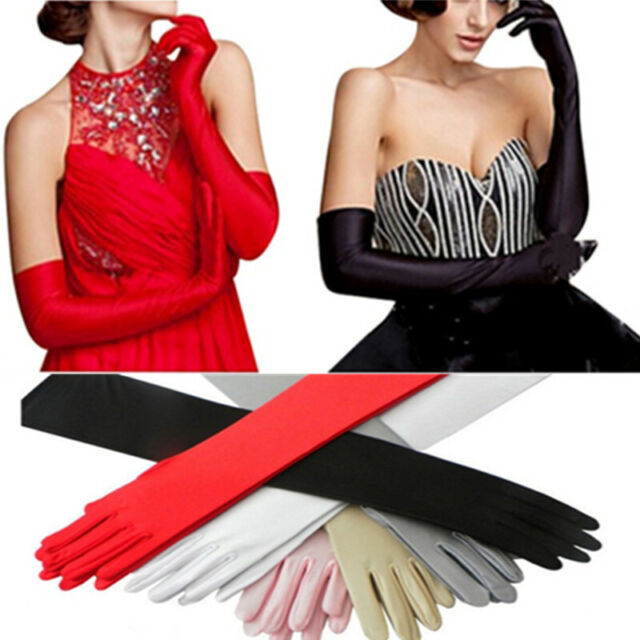 Long Satin Bridal Shower Gloves Opera Style Assorted Colors Elbow Length Wedding