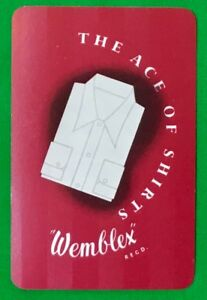 Playing-Cards-Single-Card-Old-WEMBLEX-SHIRTS-Fashion-Clothing-Advertising-Art-1