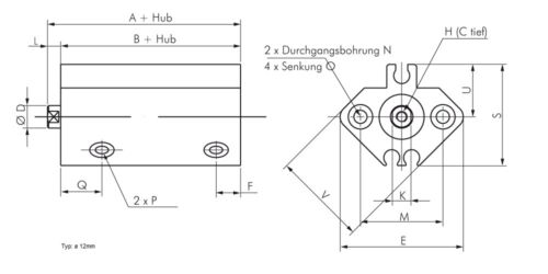 ISO Kompaktzylinder doppeltwirkend mit Magnetkolben Eco-Line SQ Kurzhubzylinder