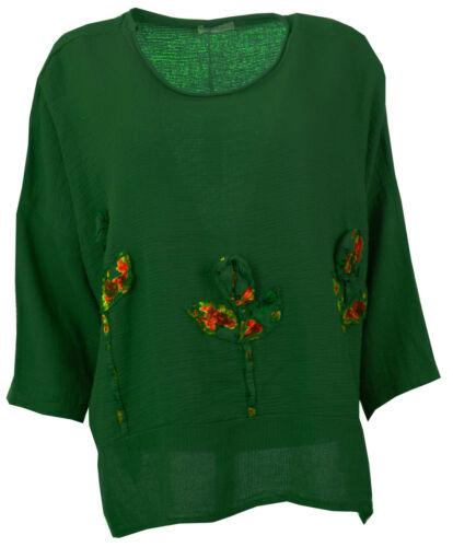 Womens Italian Textured Linen 3D Embellished Tulip Floral Tunic Ladies Crop Top
