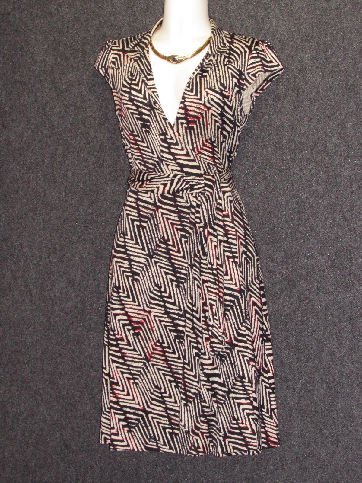 DIANE VON FURSTENBERG Griffith schwarz Weiß rot Silk Wrap DRESS SZ 2