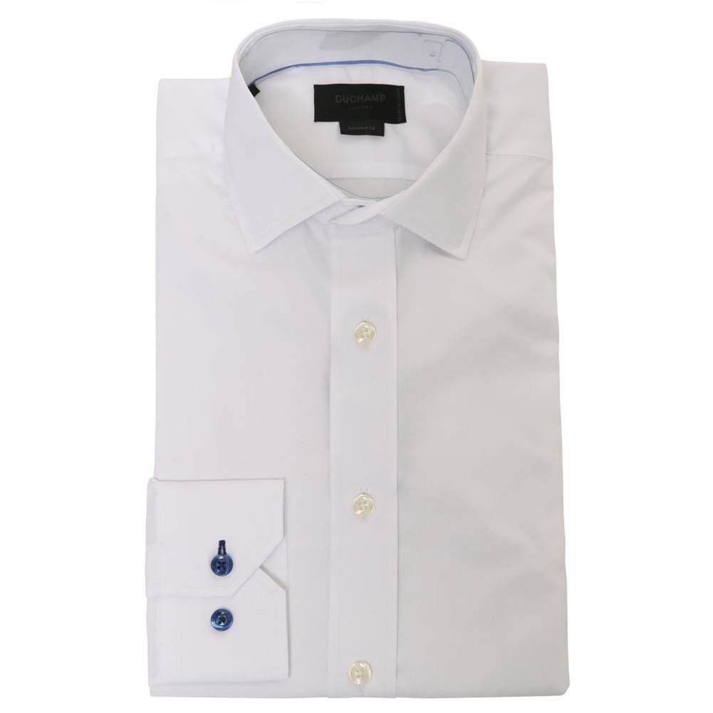 Duchamp Of London Kult Twill Popelin Shirt, Weiß  | Klein und fein